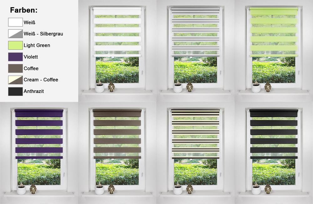 doppelrollo duo rollo seitenzugrollo klemmfix ohne bohren 7 farben markenware ebay. Black Bedroom Furniture Sets. Home Design Ideas